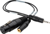 Sescom TRRS to XLR Microphone & 3.5mm Monitoring Jack Cable for Select iPhone/iPod/iPad - 1ft