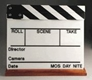 Sobrante Film Clapper Board - White Acrylic,  B/W Sticks - Large